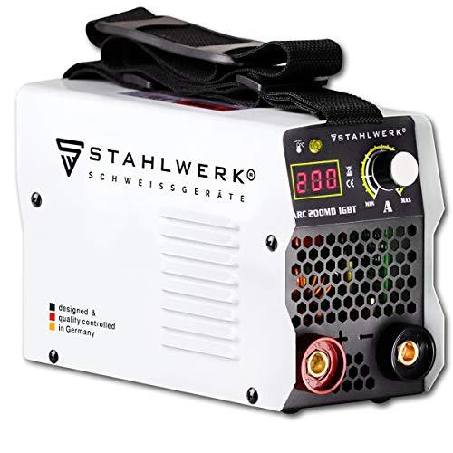 STAHLWERK ARC 200 MD IGBT - Schweißgerät DC MMA/E-Hand Welder mit echten 200 Ampere sehr kompakt, weiß, 7...