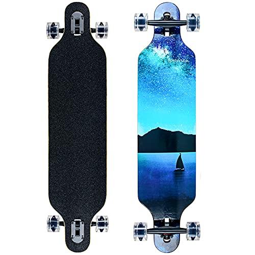 Longboard Skateboard für Jungen Mädchen Anfänger Erwachsener Teenager,Cruiser komplettes Board 8-lagiger...