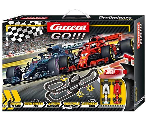 Carrera GO!!! No Limits Rennstrecken-Set | 8,9m elektrische Rennbahn mit Ferrari SF71H & Mercedes-AMG F1 W09...