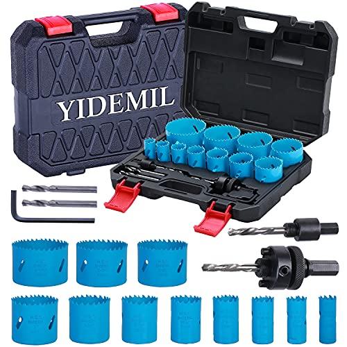 Bi-Metall Lochsäge, YIDEMIL 19 PCS Lochsäge Set mit 11 Sägeblättern 19mm-68mm, 2 Dornen, 4 Bohrern, 1...