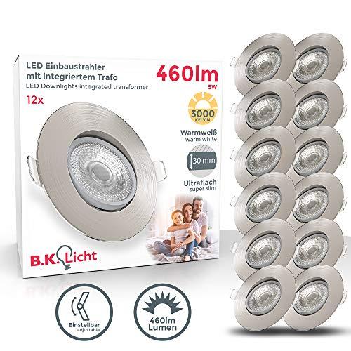 B.K.Licht I 12er Set LED Einbauleuchten I Schwenkbar I Ultra Flach 24mm I Ø90mm I Matt-Nickel I 12 x 5W LED...