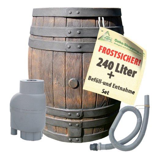 REGENTONNE EICHENFASS 240 Liter REGENFASS Wasserfass REGENWASSERTONNE Wassertonne - FROSTSICHERES Gartenfass...