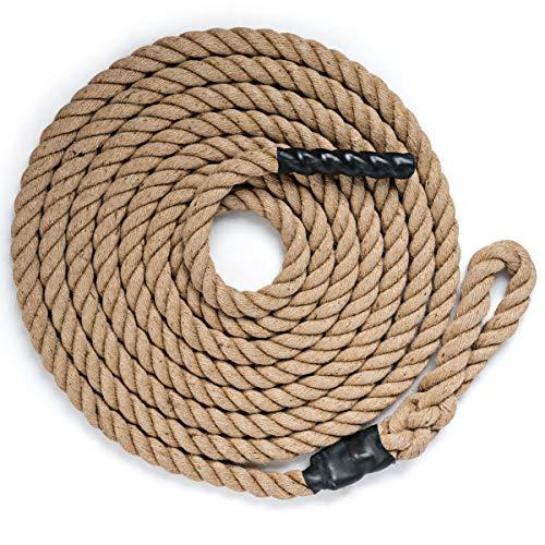 DREAMADE Kletterseil Klettertau mit Gummigriffen, Trainingsseil Clibing Rope 3,8cm Durchmesser für Fitness-...
