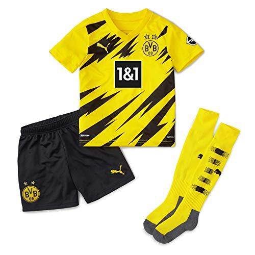PUMA T-Shirt BVB Home Mini-Kit w.Sponsor w.Socks&Hanger New, Cyber Yellow-Puma Black, 116, 931112