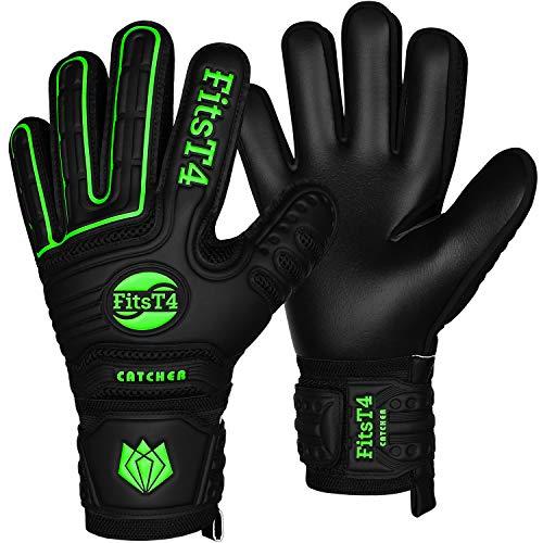 FitsT4 Torwarthandschuhe mit Fingersave-Schutz, Super-Grip, Torhüter Keeperhandschuhe für Kinder Jungen...