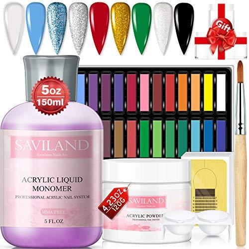 Saviland Acrylpulver- und Flüssigkeitsset - Professionelles Acrylnagelset mit 24 pastellfarbenen...