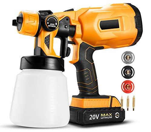 KOWE Farbsprühsystem, 20 V DC Li-Ionen-Batterie Home Elektrische Akku-Spritzpistole, 3 Düsen Einfaches...
