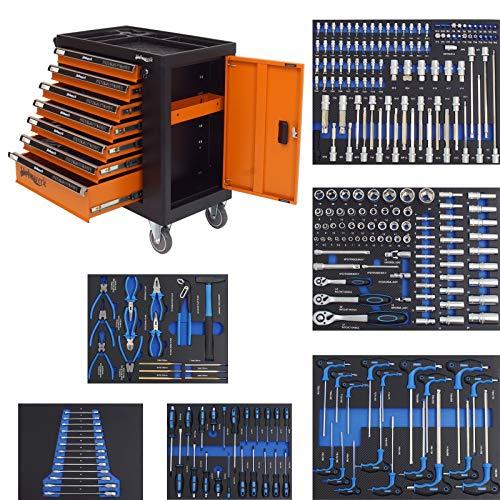Werkzeugwagen bestückt 249 TLG. XXL Werkstattwagen gefüllt 7 Schubladen + Seitenfach abschließbar 6...