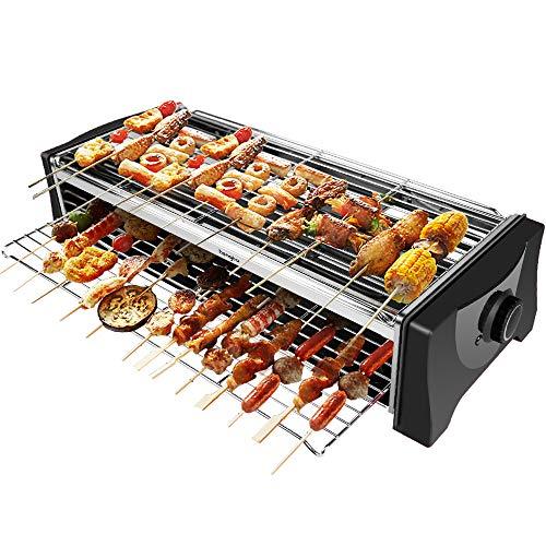 Tischgrill Elektrisch, Barbecue Elektrogrill, Rauchfrei Elektro Grill mit Auffangschale, Doppelschicht Großes...