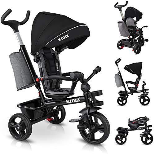 KIDIZ® Dreirad 5in1 Kinderdreirad mit Schubstange Lenksystem Stange ab 1 Jahr, Jogger vorwärts und...