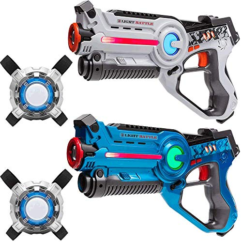 Light Battle Active Laser Tag Set - 2X Spielzeugpistole (weiß, blau) + 2 Weste - LBAPV22234