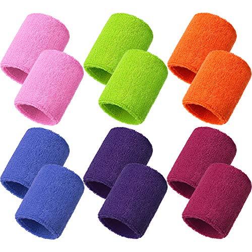Bememo 12 Packung Schweißbänder Sport Armband Baumwolle Schweißband für Männer und Damen, Gut für...