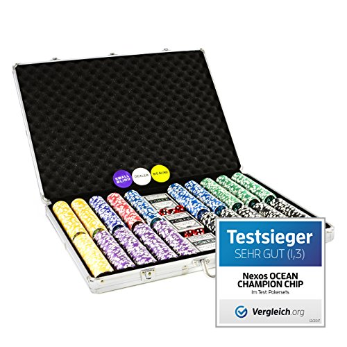 Pokerkoffer 1000 abgerundete Ocean Champion Chips hochwertige Metallkern Jetons 12 g Pokerset 3 Pokerdecks...
