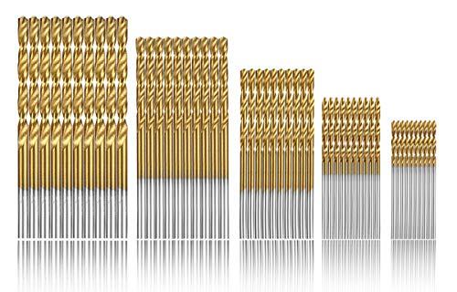 Estmoon 100 Stück HSS Bohrer Set Metall Spiralbohrer Set Handspiralbohrer Bohrersets Werkzeuge 1/1,5/2/ 2,5/3...