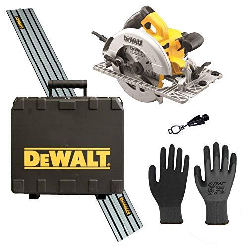 DeWALT Handkreissäge DWE576KR inkl. Führungsschiene (1500 mm), Handschuhclip, 24x Arbeitshandschuhe, 24 Zahn...