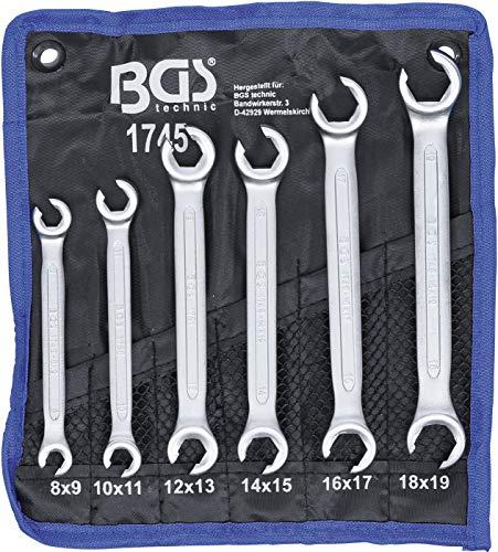 BGS 1745   Offener Doppel-Ringschlüssel-Satz   6-tlg.   SW 8 x 9 - 18 x 19 mm   inkl. Tetron-Rolltasche  ...