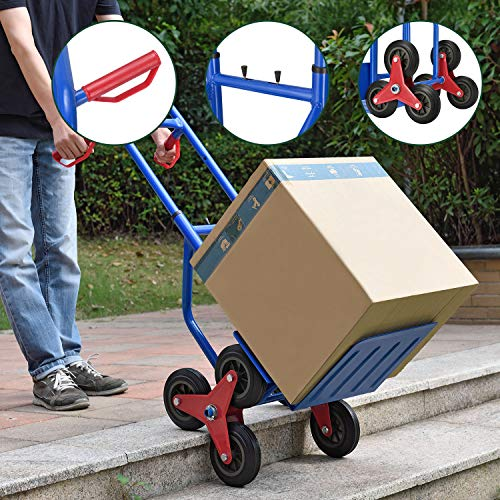 Juskys Treppensackkarre klappbar | 200 kg belastbar | Hartgummireifen | Kunststoff Griffe | Stahl Rahmen |...