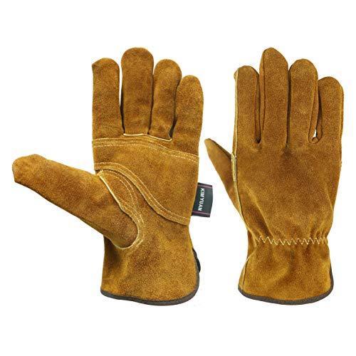 KIM YUAN Waterproof Leather Wrist Work Gloves Wear Resistant Puncture Resistant For Yard Gardening Farm...