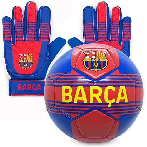 FC Barcelona - Kinder Fußball-Set - Torwarthandschuhe & Fußball - mit Vereinswappen - Offizielles...