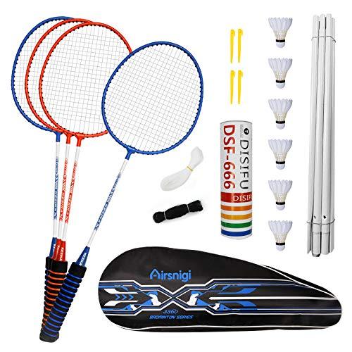 Airsnigi Badminton Set, 4er Profi Badmintonschläger mit 4 Federbälle, Leichtgewicht Badminton Schläger...