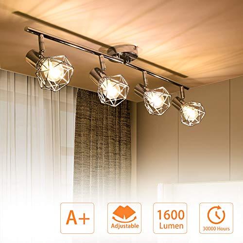 PADMA LED Deckenlampe Küche Schwenkbar Deckenstrahler 4 Flammig im Retro/Vintage 4 x 4W(Glühbirne enthalten)...