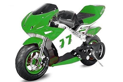 Nitro Motors Pocketbike PS77 49cc Kinderbike Rennbike Dirtbike Minibike Bike Pocket Schwarz-Grün-Weiss