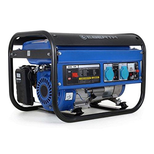 EBERTH 3000 Watt Benzin Stromerzeuger (6,5 PS Benzinmotor, 4-Takt, luftgekühlt, 2x 230V, 1x 12V,...