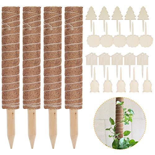 Lemecima 4 Stück 41CM Pflanzstab Kokos Rankstab Rankhilfe Blumenstab mit 20 Pflanzschilder für Pflanzenname...