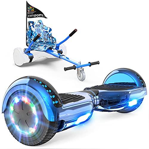 GeekMe Hoverboard mit Sitz,Elektroroller Hoverkart, Elektro Scooter Go-Kart mit Bluetooth-Lautsprecher...