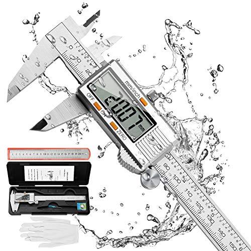 Distianert Messschieber Digital 150mm, Elektronische Edelstahl Messlehre Messwerkzeuge mit Großem LCD-Display...