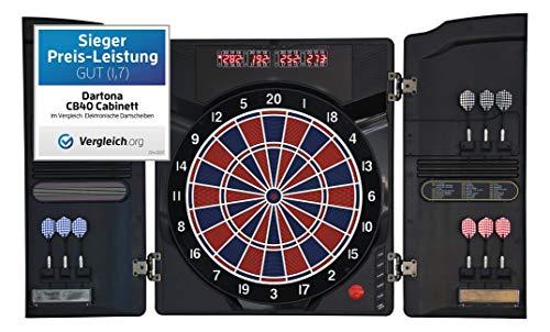 Dartona Elektronische Dartscheibe CB40 Cabinett -   Dartscheibe elektronisch   Turnierscheibe mit 27 Spielen...
