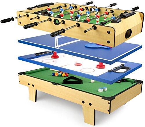 Leomark Multigame Mobile Spieltisch ~aus Holz ~Tischfußball, Billard, Hockey, Tischtennis 4in1, Multiplayer...