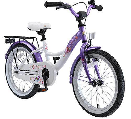 BIKESTAR Kinderfahrrad für Mädchen ab 5 Jahre   18 Zoll Kinderrad Classic   Fahrrad für Kinder Lila & Weiß...