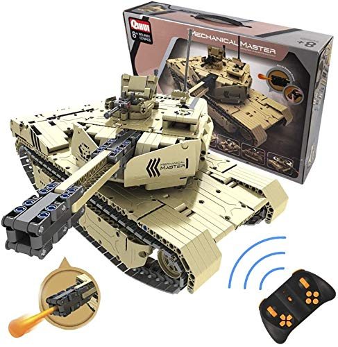 s-idee® 9801 RC Militär Bausteinpanzer mit Fernsteuerung Qihui RC Panzer ferngesteuert mit Schussfunktion...