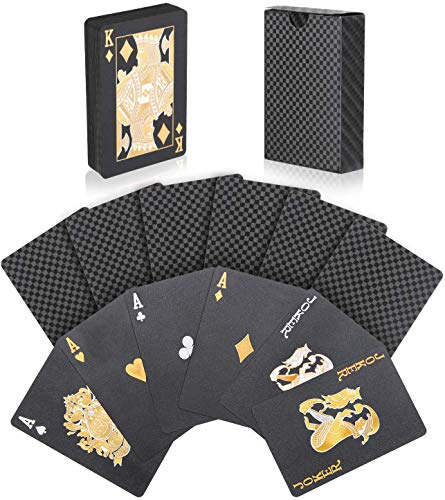 Joyoldelf Schwarze Spielkarten, Pokerkarten Wasserfest Mit Gittermuster, Spiel Mit Box, 54 Karten, Magische...