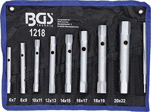 BGS 1218 | Rohrsteckschlüssel-Satz | 9-tlg. | SW 6 x 7 - 20 x 22 mm | metrisch | inkl. Tetron-Rolltasche