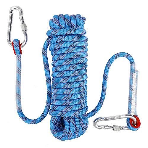 FT-SHOP Kletterseil Outdoor Sicherheitsseil mit Karabiner 10mm Nylon Statisches Seil für Wanderung...