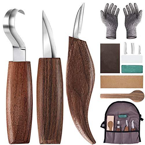 Holz-Schnitzwerkzeug Set, 10 Teiliges Holz Schnitzmesser mit Schleifsteine, Professional Holzschnitzerei...