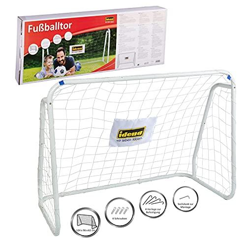 Idena 40099 - Fußballtor aus Metall mit Netz, ab 6 Jahren, ca. 124 x 96 x 61 cm, schnelle Montage, ideal für...