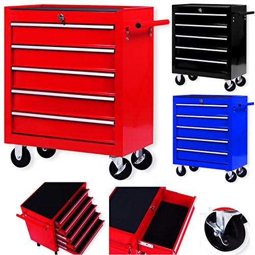 Masko® Werkstattwagen - 5 Schubladen, rot ✓ Abschließbar ✓ Massives Metall | Mobiler Werkzeug-Wagen ohne...