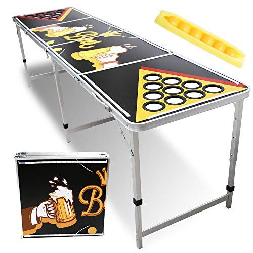 Hengda Beer Pong Tisch mit LED Beleuchtung & Becherlöcher Design Klappbarer Leichter Bier Pong Table mit 6...