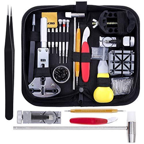 Zacro Uhrmacherwerkzeug Set 153 tlg Uhrenwerkzeug Uhrarmband Reparatur Werkzeug Einstellbar Gehäuseöffner...
