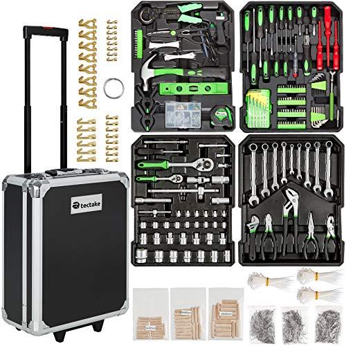 tectake 401321 Werkzeugkoffer 1200-teilig mit Werkzeug befüllt, 4 Ebenen, Trolley mit Rollen und...
