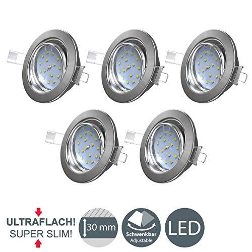 B.K.Licht I 5er Set schwenkbare LED Einbaustrahler I Ultra flache Spots 26 mm I 3.000K warmweiße Lichtfarbe I...