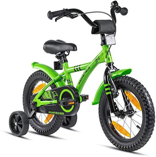 Prometheus Kinderfahrrad 14 Zoll Jungen mit Stützräder ab 3-4 Jahre Mädchen Rücktritt 14zoll BMX Modell...