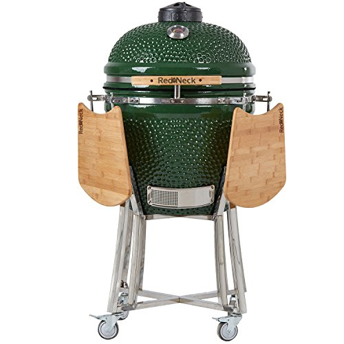 AsVIVA Redneck Keramik Grill (47cm Grillfläche), BBQ Grill, Edelstahl Anbauteile, Bambus Ablagen, Thermometer...
