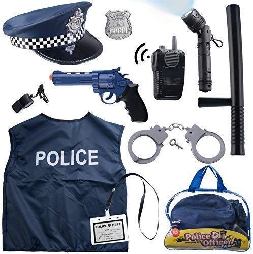 Born Toys 12-teiliges Polizeikostüm für Kinder mit Rollenspiel-Set mit Polizeimarke, Handschellen,...