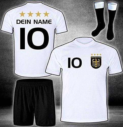 DE-Fanshop Deutschland Trikot Hose Stutzen mit GRATIS Wunschname Nummer Wappen Typ #D 2020 im EM/WM Weiss -...