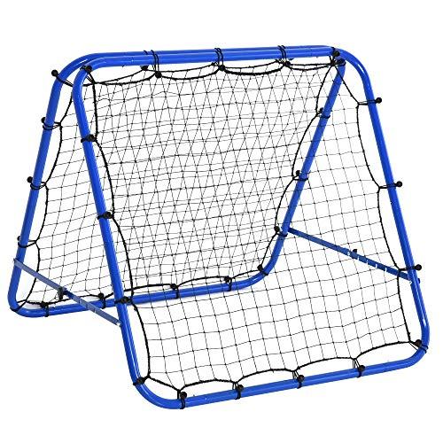 HOMCOM Baseball Rebounder Kickback Tor Rückprallwand Netz beidseitiger Rückprall Faltbar Stahl+PE Blau 100 x...