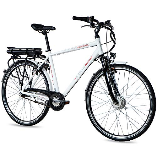 CHRISSON 28 Zoll E-Bike Trekking und City Bike für Herren - E-Gent weiß mit 7 Gang Shimano Nexus...